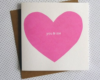 You & Me Heart Valentine Card