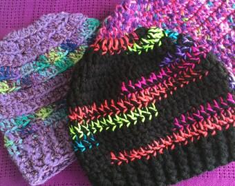Open-top/messy bun/pony tail slouchy beanie hat