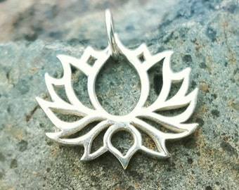 Lotus Flower Charm - Silver Open Lotus Necklace - Yoga Jewelry