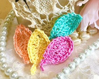 Crochet Shabby Crochet Leaves, 4 Leave Set, Spring Leave Appliqués, Sewing, Scrapbooks, Wedding Leaves, Shabby Decor
