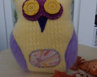 Recycled Cashmere Owl Tooth Fairy Pillow - Yellow and Purple