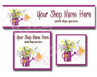 Premade Etsy Cover Photo  - Large Etsy Banner - Etsy Shop Banner - Shop Icon - Purple Water Pitcher - Flowers