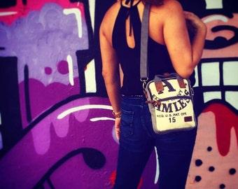 Bemis A Seamless - Mini Backpack/ Shoulder Bag/ Mini Tote - Vintage seed sack Canvas & Leather Bag Selina Vaughan Studios