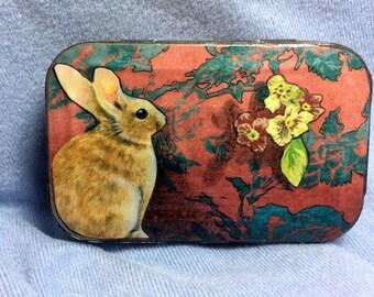 Altered Altoid box, trinket box, tiny art box, bunny, rabbit, Melody Lea Lamb