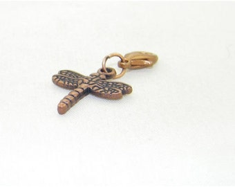 Antique copper dragonfly lobster claw charm for link bracelets and necklaces, Clip on charm, Purse charm, Backpack charm, Zipper charm, Gift