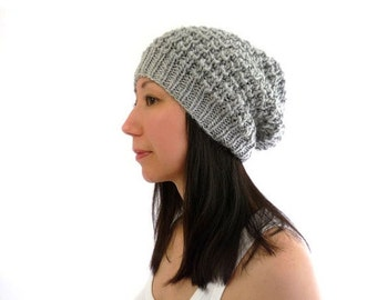 15% OFF SALE: LouLou Knit Lace Slouch / Slouchy Hat. Fog Gray / Grey. Wool Alpaca Mix. Soft and Rustic. Boho Style. Fall / Winter.