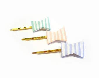 ribbon hair pins, cute bow hair accessory hand painted in pastel blue, pink, or purple