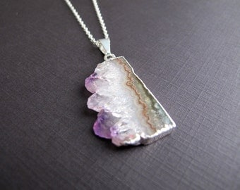 Amethyst Stalactite Pendant Necklace, February Birthstone, Raw Stone, Sterling Silver Layering Necklace