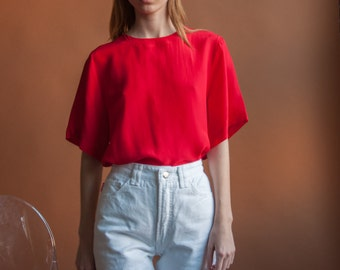 red silk t shirt / oversized red blouse / COLORBLOCK tee top / s / m / 069t / B18