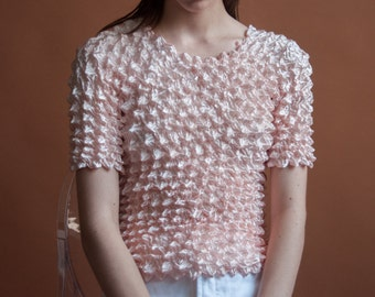pink micropleat popcorn top / simple crinkled top / minimalist top / s / m / 2143t / B18