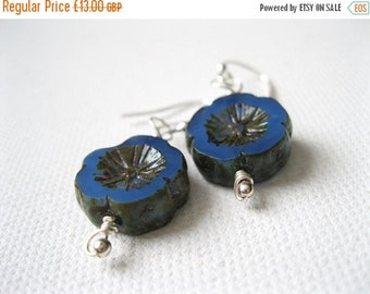 ON SALE LAST Pair Cornflower Blue Blossom & Sterling Silver Earrings Uk Seller Stylish Bohemian Blue Picasso Effect Boho Rustic Fashion Gift