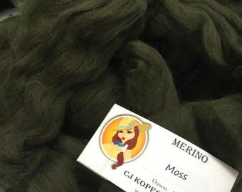 Moss 4oz Merino Wool Top Roving Spinning/Felting/Blending