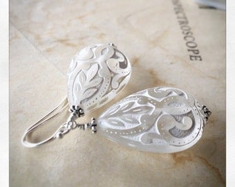 Winter lace vintage style teardrop earrings in sterling silver