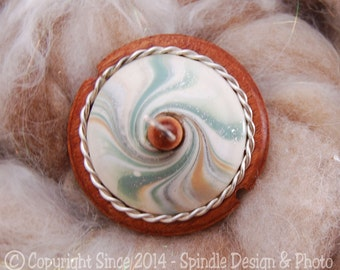 The Clay Sheep Drop Spindle - LIMITED EDITION - Sage Green Swirl Top Whorl Drop Spindle - Small .84 oz
