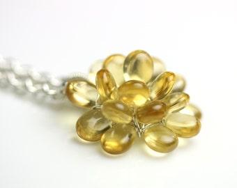 Special Offer - Citrine Bloom Necklace . November Birthstone ,