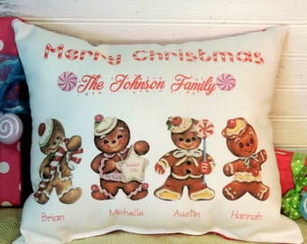 Personalized Gingerbread Man Family Pillow, Christmas Gift Pillow, Country Christmas Decor