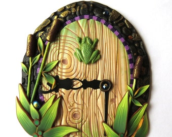 A Day at the Pond Frog Fairy Door Wall Art Room Decor or Fairy Garden Accessory
