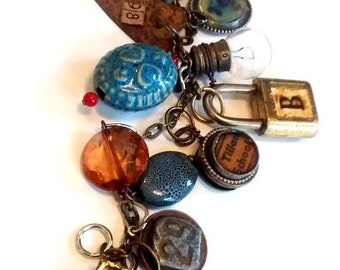Vintage Treasures  Charm Bracelet  artisan jewelry recycle upcycle treasures  found objects  assemblage