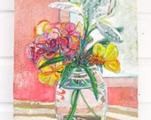 Bouquet with Butterfly Weed original mixed media painting  by Polly Jones