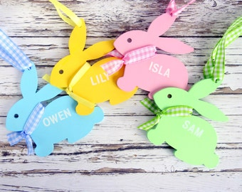 Wooden bunny personalized Easter decoration/ ornament boy / girl custom baby / child name, pastel Spring/Easter gift