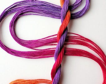 """Embroidery floss """"Corsage"""" hand dyed cotton"""