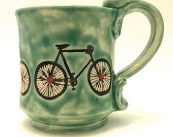 Ceramic Bicycle Mug 12 Ounces Wheel Thrown Jade Green with Red Dots Ready to Ship MG0060