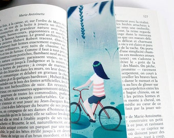 Fireflies by night - illustrated bookmark with woman and bicycle