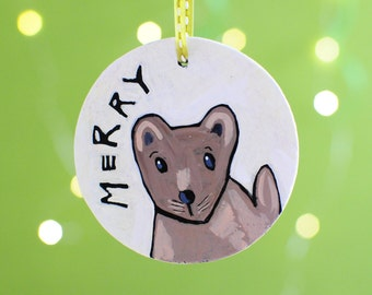 """Merry Puppy 3"""" Hand Painted Christmas Ornament"""