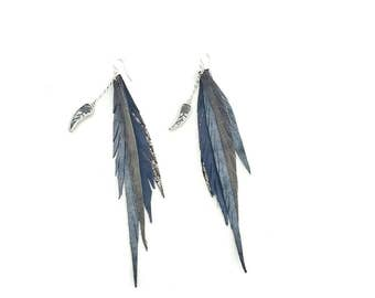Long leather fleather earrings with silk charm and sterling silver