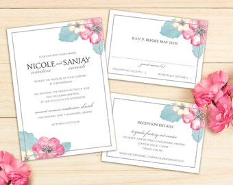Delightful Watercolor Blooms Modern Wedding Invitation