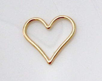 Ship from USA: 6pcs Gold plated brass base Infinity open heart link connector love sign charm, great for necklace and bracelet