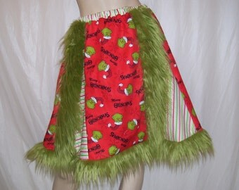 Grinch Party Skirt Adult Furry Hem Dot n Stripe Dr Seuss Ugly Sweater Party Christmas Holiday Merry Grinchmas Skirt Geek Skirt Adult L Plus