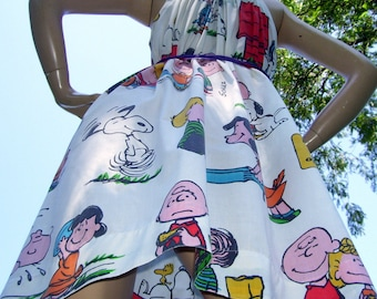 Charlie Brown Dress Upcycled Vintage 1971 Hippie Snoopy Peanuts Party Geek SunDress Chevron Adult S- XL Cruise Resort Maternity Sundress