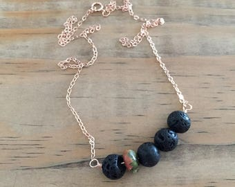 lava bead diffuser necklace for essential oils with unakite gemstone - rose gold filled