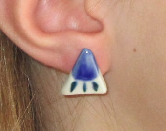 FREE SHIPPING Porcelain Triangle Earrings with Ocean Sun Rays