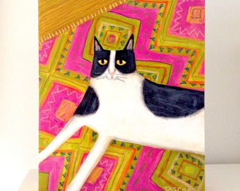 Tuxedo Cat on pink and green Aztec rug CAT folk art painting ORIGINAL acrylic painting by artist TASCHA