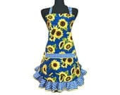 Sunflower Apron for Women , Yellow Flowers on Blue with Retro Style Check Ruffle , Floral Kitchen Decor , Pin Up Girl Apron , Flirty , Sexy