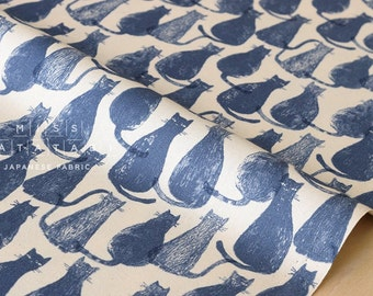 Japanese Fabric stamped cats - indigo blue - 50cm