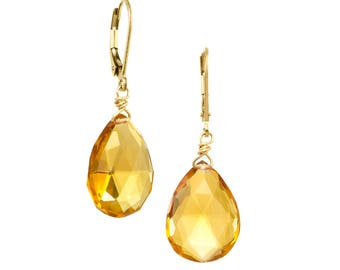 Citrine Quartz Drop Gemstone Earrings on 14k GF Earwires
