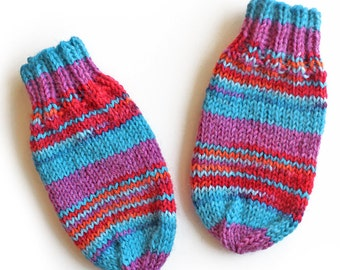 Baby Mittens Without Thumbs. Thumbless Knit Wool Winter Mitts. Infant Hand Warmers. No String, No Thumb Baby Mittens. Red and Blue