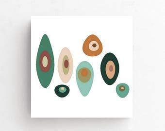 Mid Century Art, Abstract Art Canvas, Mid Century, Geometric Art, Modern Canvas Print, Retro Art Print, Mid Century Modern