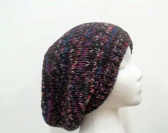 Slouch beanie, hand knitted, muticolor, large size, womens hats, mens hats