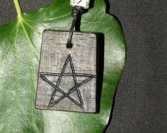 Celtic Irish Bog Oak Pentagram Pendant For Wiccans, Witches and Pagans On a cord