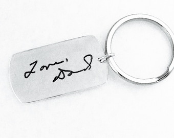 Sterling Dog Tag Keyring Own Handwriting by donnaodesigns