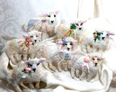 Flock of Irish Sheep Quilty Critters  - Smaller Version - OOAK, Folk Art, Ornament, St Pats, Sprintime, Easter