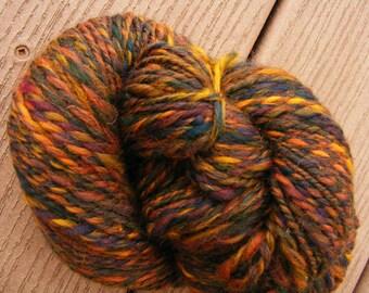 WOODLAND OAK Handspun Wool Yarn Merino Corriedale 176yds 3.9oz 7-8wpi aspenmoonarts worsted artyarn knitting autumn art yarn