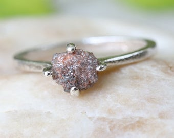 Red rough diamond ring with sterling silver band with chunky prong setting