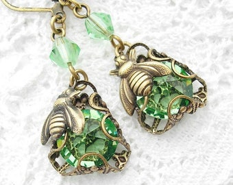 Peridot Bumblebee Charmed Glass Dangle Earrings