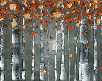 "aspen birch tree wall art abstract print on canvas, modern charcoal gray and copper orange woodlands decor jewel tones large: up to 36""x72"""