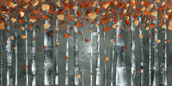 """aspen birch tree wall art abstract print on canvas, modern charcoal gray and copper orange woodlands decor jewel tones large: up to 36""""x72"""""""